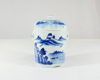 Blue & White Asian Canister, Biscuit Jar + Lid/Indigo Cobalt Blue/White/Oriental Chinoiserie Home decor. Kitchen Canister Ceramic, Handles.