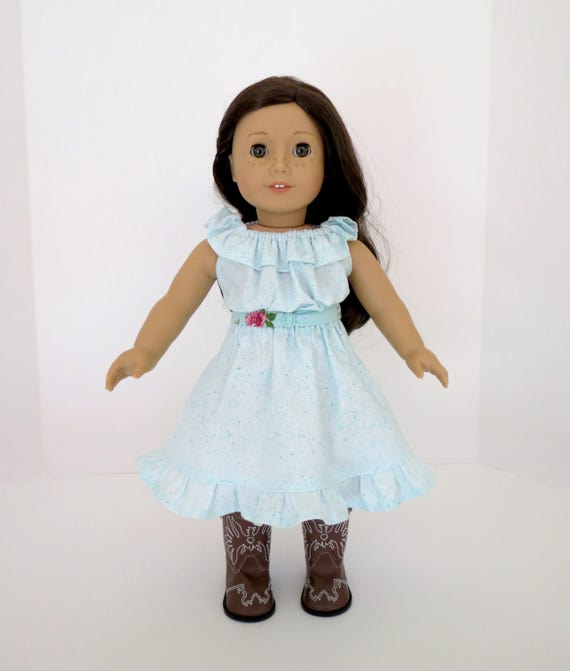 Turquoise Country Tea Rose Dress for 18 inch dolls such as American Girl® Tenney Grant®