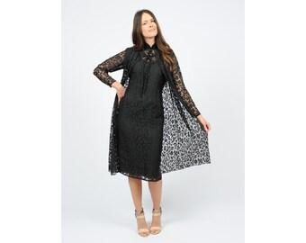 Vintage 50s Cheongsam Dress Black Sheer Lace with Matching Cape and Slip Medium Handmade