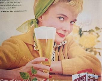 Fabulous 1960 Advertisement for Schlitz Beer, great beer ephemera.
