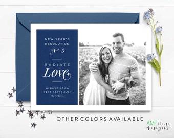 Radiate Love - New Year's Photo Card - New Year's Resolution Card - Custom New Year Card - Holiday Photo Card - Love Card - Love Everyone