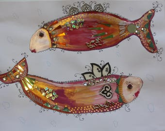 Flirty Fish Series, The Twins, mixed media acrylic painting on paper