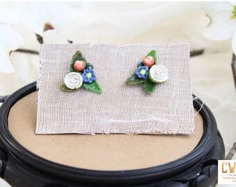 White Blue and Orange Flower Bouquet Stud Earrings, flower studs, rose studs, stud earrings, floral earrings