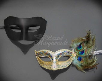 Couples Masquerade Mask, His & Hers Masquerade Mask, Feather Masks, Masks, Feather Masquerade Mask, Mens Masquerade Mask, Mardi Gras Masks