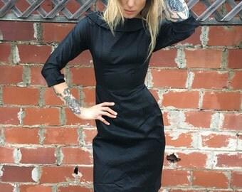 Black Vintage Dress / 1960's Black Dress / 1950's Black Dress / Small Black Dress / XS Black Dress // Silky Vintage Black Dress // Boat Neck