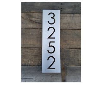 House Numbers Vertical Modern Address Plaque Brushed Metal Size Options Custom Made