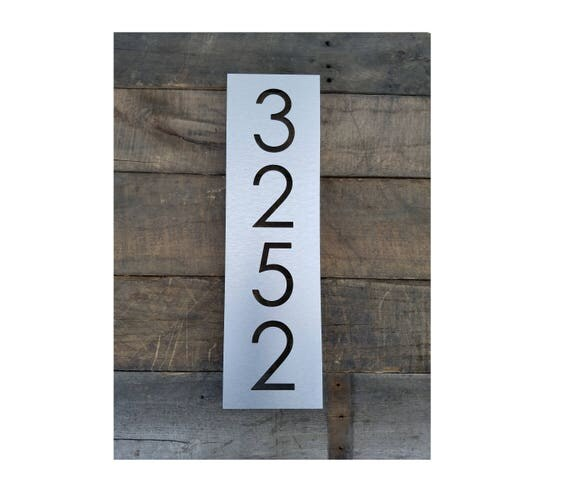 House Numbers Vertical Modern Address Plaque Brushed Metal