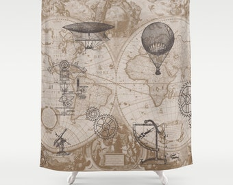 Steampunk Style Shower Curtain - hot air balloons, vintage illustrations,  Gears - Home Decor - Bathroom - world map, antique brown, beige