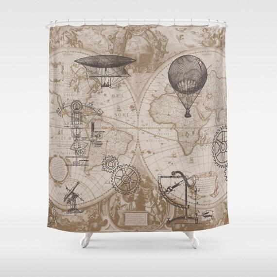 Steampunk Style Shower Curtain - Gears of Flight  - Home Decor - Bathroom - maps, antique brown, beige