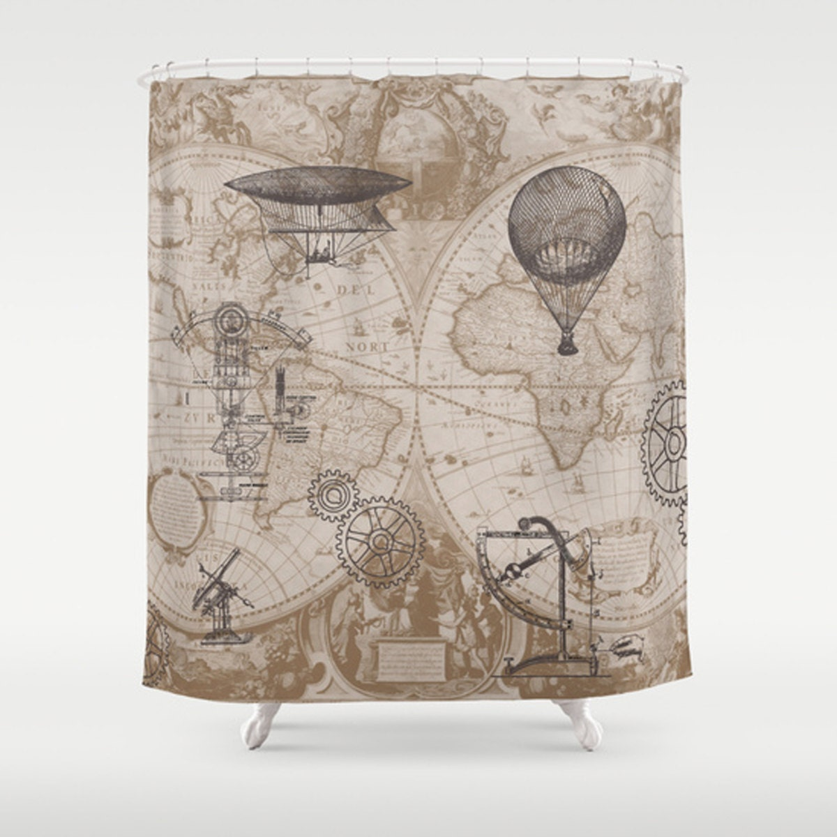 Steampunk Style Shower Curtain hot air balloons vintage
