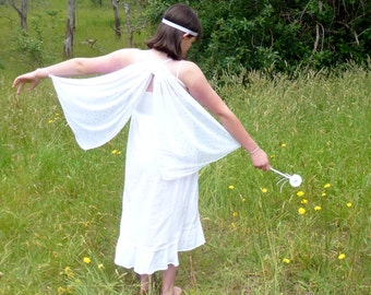 White Fairy/Butterfly Wings and Flower Wand Set, White and Silver Winter Fairy Wings