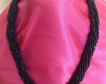 Necklace, Mostasilla Beads Necklace, 13 Strand with Black Mostasilla Beads