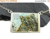 ON SALE Silver stamp Necklace, Stamp Jewelry, Postage Stamps, Leopard Necklace, Simple necklace, Postage Stamp Art, Fun pendant, Israeli jew