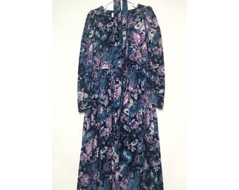 Vintage Laura Ashley corduroy long sleeve long dress navy blue light purple Ivy green with poofy shoulders and a waist tie belt