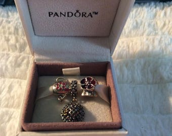 """Authentic PANDORA Retired 3pc """"Mom's Garden"""" Hat, """"Garden Pail"""" and """"Poppy"""" with Hinged Pandora Gift Box & Polish Cloth!"""