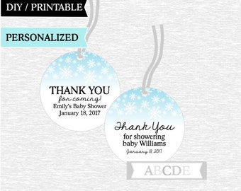Personalized Winter Snowflakes Baby shower Thank You tags Winter Birthday Tags DIY Printable (FRO002)