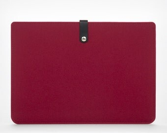 Cover New MacBook Pro 15– Sleeve MacBook – MacBook Case –  Felt and Leather Case - Red Felt - Leather Cover - New MacBook Pro 15'