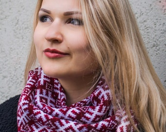 Scandinavian Latvian design infinity scarf interesting folk pattern circle scarf wrap it double as a cowl