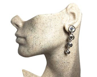 Authentic Yves St Laurent YSL Vintage Rhinestone Dangle Earrings