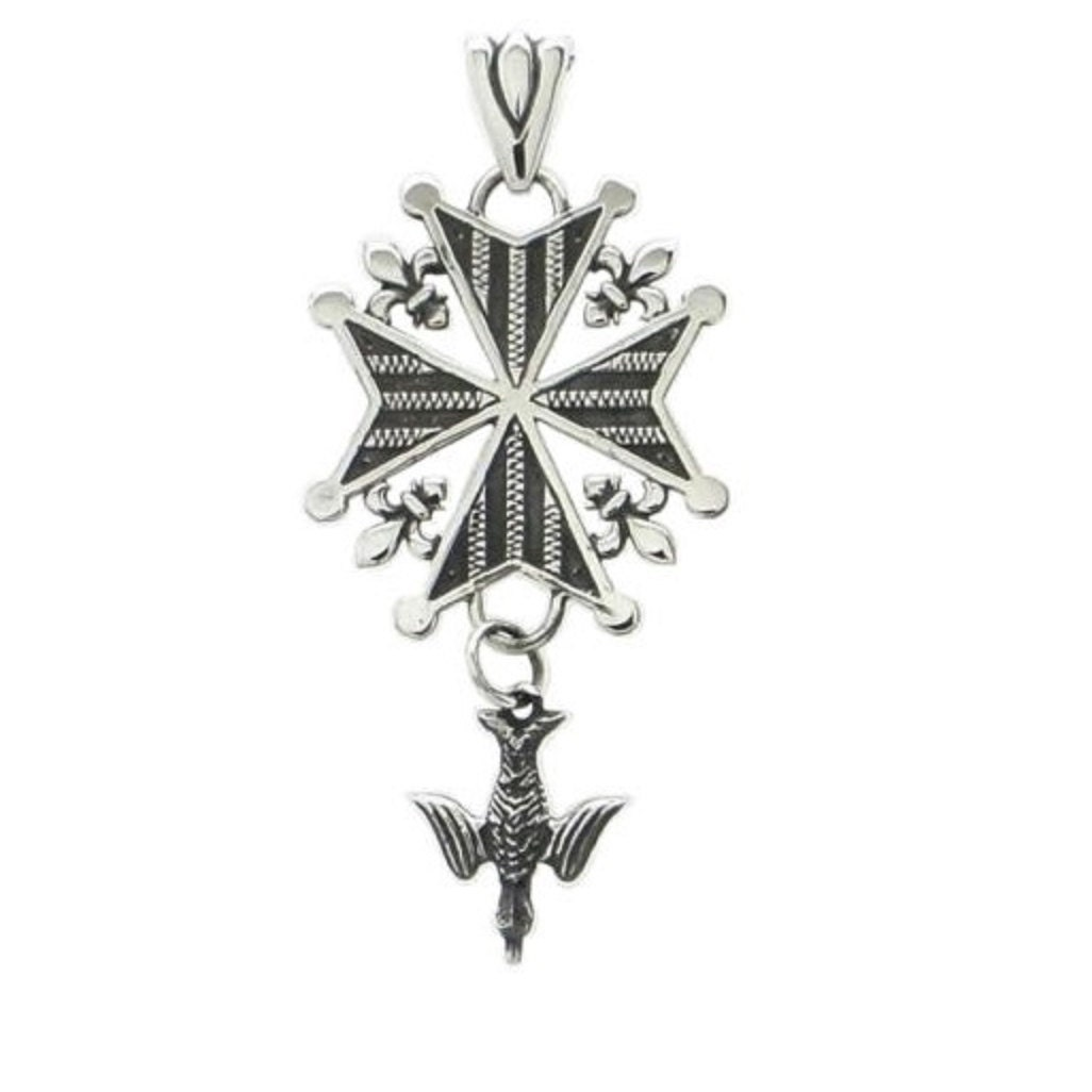 french protestant huguenot cross pendant sterling silver
