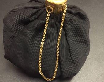 Very Beautiful Authentic Vintage Black/Diamante Top Evening Pouchette Bag