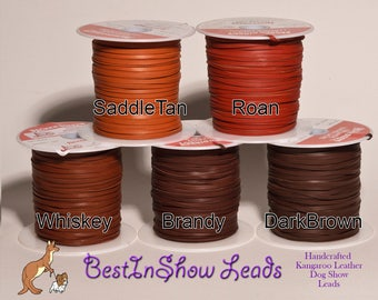 3mm Kangaroo Leather lace BROWNS,  sold by the yard