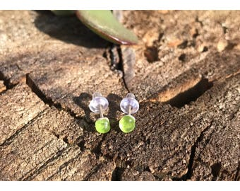 Seaglass studs, seaglass earrings, sterling silver and sea glass studs, post earrings