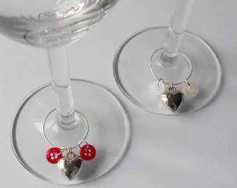 Heart Wine Rings, Love themed Stem Glasses Charms, Special Day Gifts, Couple Present Idea, Date Night Decorations, Engagement Present