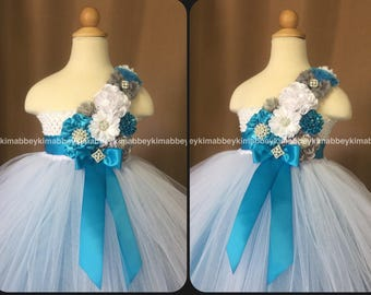 Flower girl tutu dress in white, turquoise and grey
