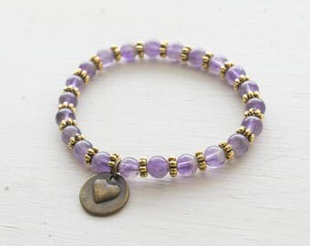 Purple and Gold  Beaded Stretch Bracelet with Heart Charm