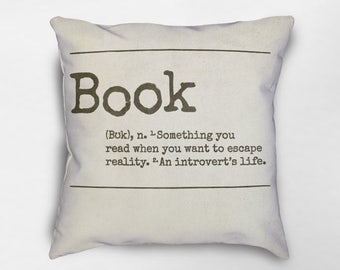 Book Pillow, Book Decor, Bookish Gifts, Book Lover Gift, Reading Nook, Book Nook, Book Quotes, Gift for Introvert, Bibliophile Gift
