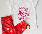 Valentine Girls Outfit, Leggings, Embroidery, Embroidered Shirt, Love, Hearts, Red