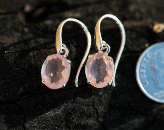 Rose Quartz Earrings - Rose Quartz Dangle Cut Earrings - Sterling Sliver Rose Quartz Earrings - Rose Quartz Dangles Earrings - Rose
