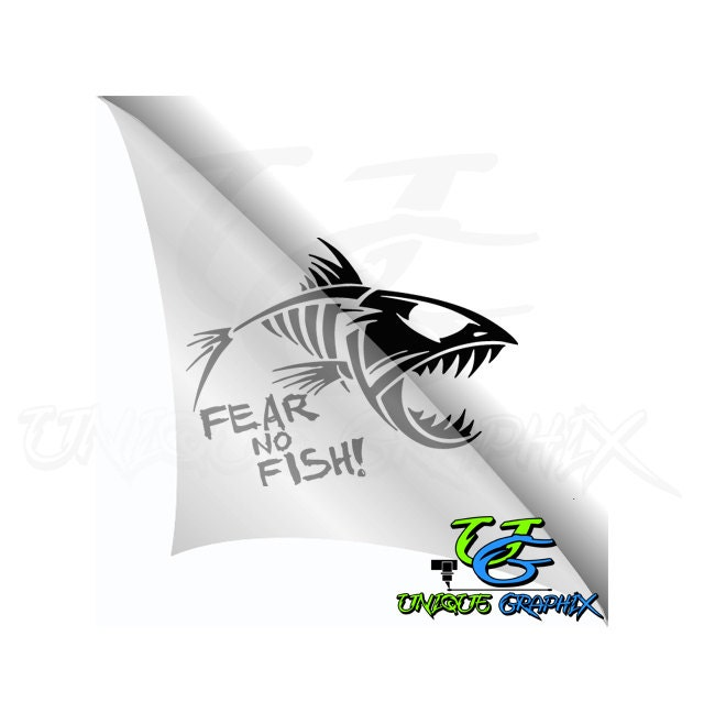 Fear no fish fishing decal boat window sticker for Big fish theory vinyl