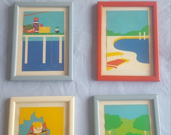 1980s postcard framed brightly coloured art