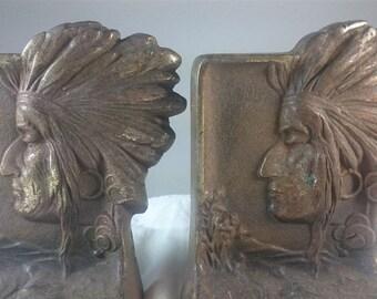 Antique Native American Indian Cast Iron Metal Bookends Set Art Nouveau Late 1800's