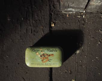 Vintage metal tin - brillantina tin - pomade tin - bathroom decor - vintage finds - tiny tin - little - fontanella manufactury - european