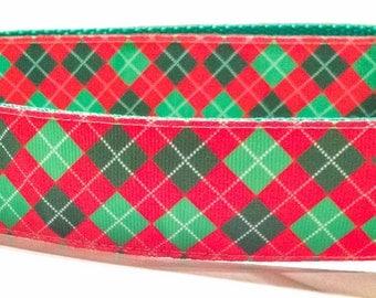 Argyle Christmas Dog Collar