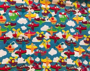 Cartoon Airplanes - Cotton Lycra Knit Fabric