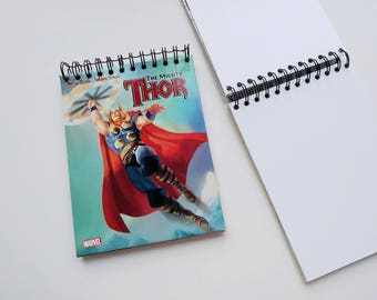 Thor Marvel Avengers Little Golden Book Upcycled Sketchbook Notebook, Drawing Pad