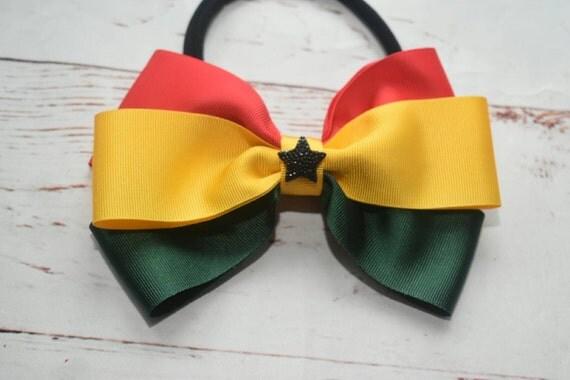 Ghana at 60 bow - Baby / Toddler / Girls / Kids Elastic Hairclip / Hair Barrette / Hairband / Headband