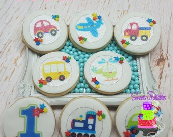 """1st Birthday All Aboard Sugar Cookie 2""""- 12 Sugar Cookies Decorated With Marshmallow Fondant-Party Favors"""