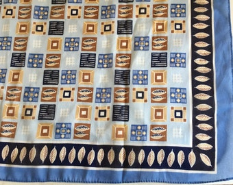 "Silk Scarf Feather Pattern Color Blocks Blues and Browns Square 22"" by 23"""
