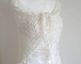 Bridal shawl, wedding shawl, bridal wrap, cream shawl, crochet shawl, delicate shawl, ivory shawl, ladies shawl, beaded shawl IN STOCK