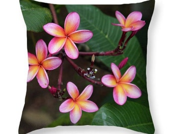 Beautiful Nature Pink Plumeria Flower Throw Pillow/Pillow Cover, Accent Pink Green Flowers Pillow, Seat Cushion Flowers Floral Photo Art