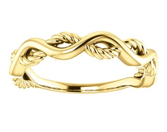 Infinity 14K Gold Wedding Band, White, Rose, Platinum, Sterling Silver, Twisted Rope, Stackable Ring