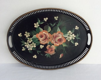 Vintage Shabby Chic Toleware Black Tray With Roses