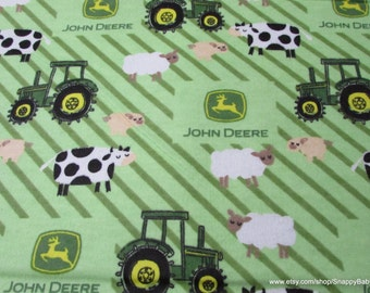 Character Flannel Fabric - John Deere Tractors Ducks on Stripes - 1 yard - 100% Cotton Flannel