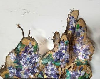 Lilac Painting on Pine Tree Slice