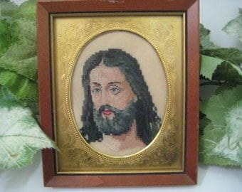 Framed Vintage Needlepoint Portrait / Picture of Jesus Christ